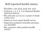 self reported health status