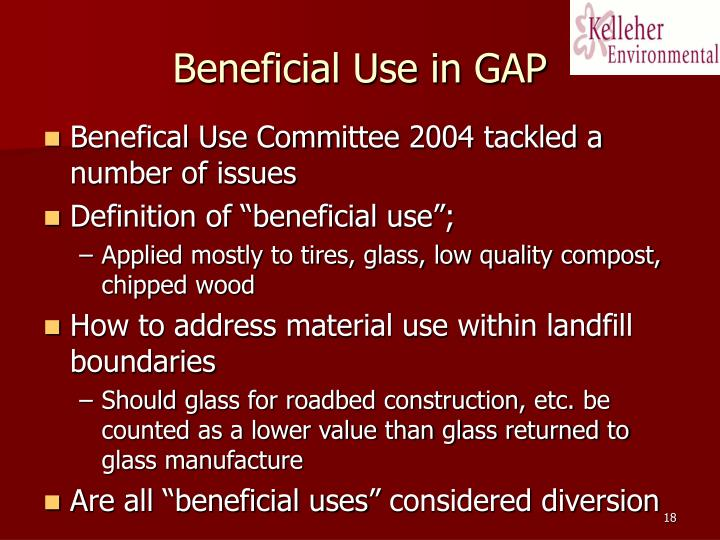 Beneficial Use in GAP