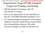 experiments using ntcir 6 english corpus for training and testing