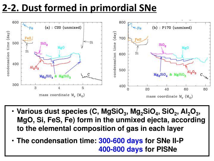 2-2. Dust formed in primordial SNe