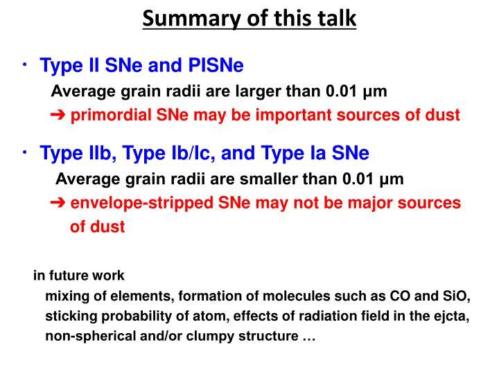 Summary of this talk