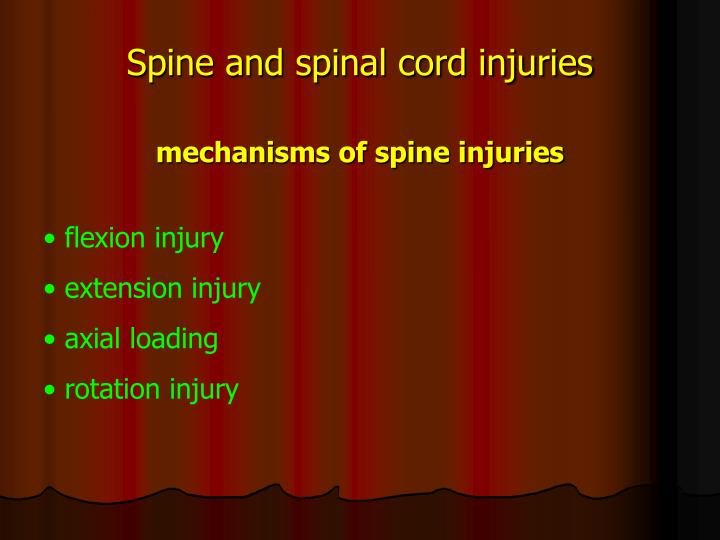 Spine and spinal cord injuries mechanisms of spine injuries