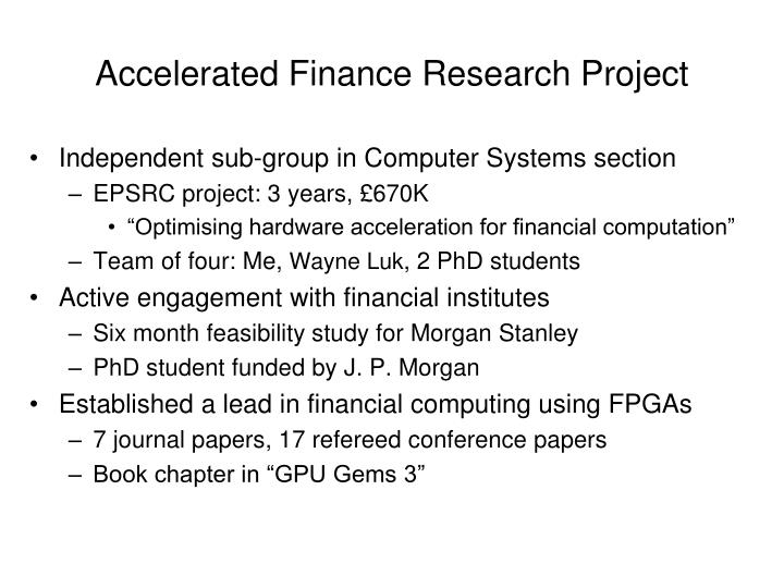 Accelerated Finance Research Project