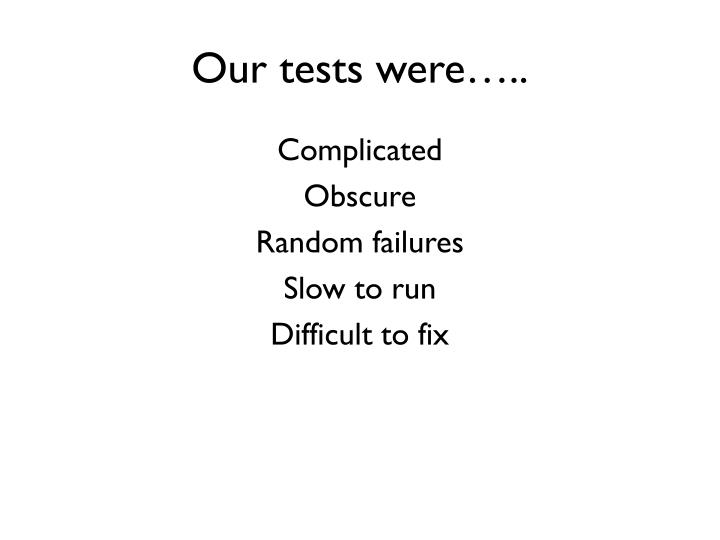 Our tests were…..