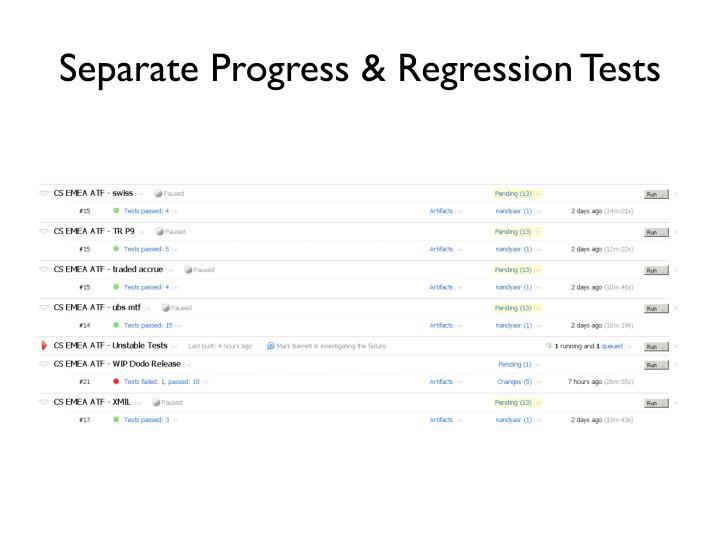 Separate Progress & Regression Tests
