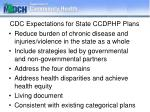 cdc expectations for state ccdphp plans