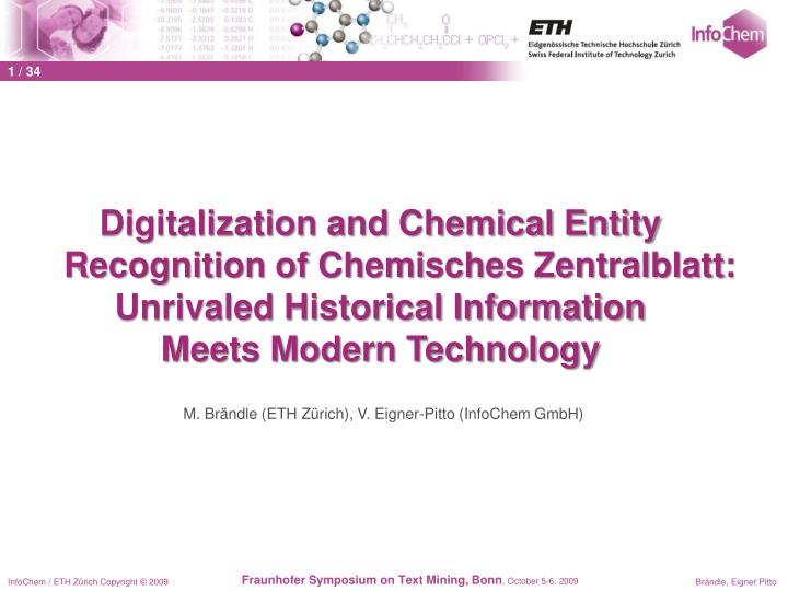 Digitalization and Chemical Entity Recognition of Chemisches Zentralblatt: