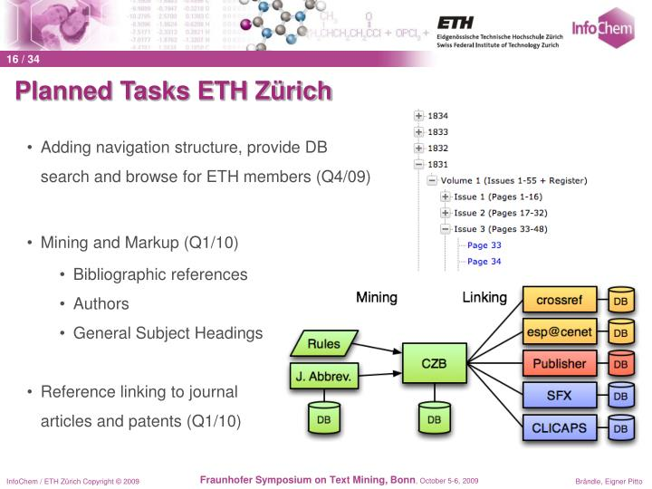 Planned Tasks ETH Zürich