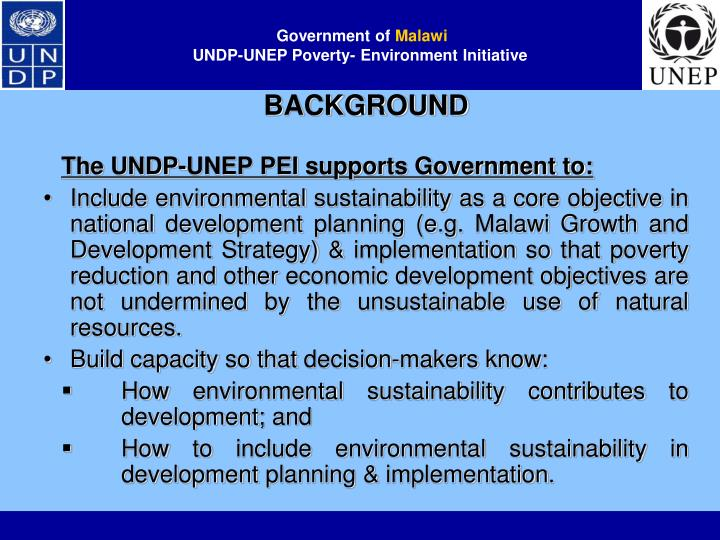 Government of malawi undp unep poverty environment initiative1