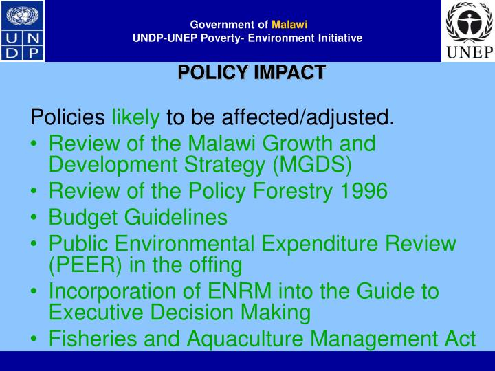 POLICY IMPACT