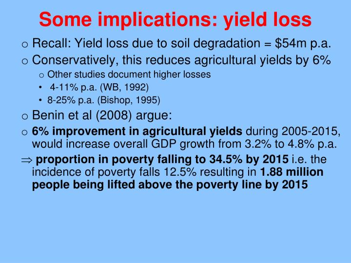 Some implications: yield loss