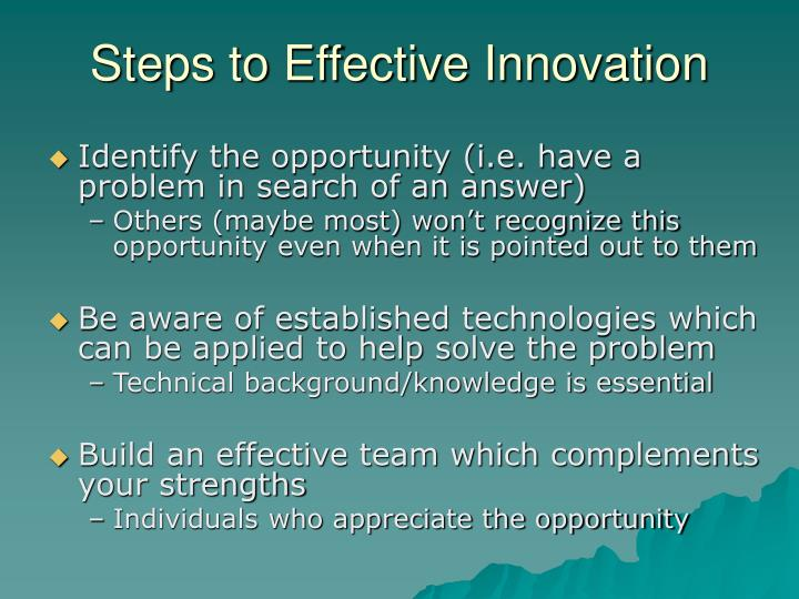 Steps to Effective Innovation