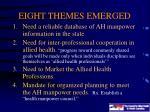eight themes emerged