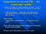 suggestions for beyond pbl the community public