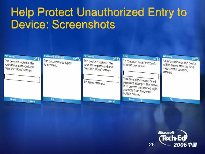 Help Protect Unauthorized Entry to Device: Screenshots