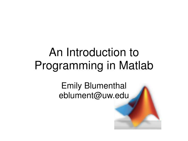 an introduction to programming in matlab n.