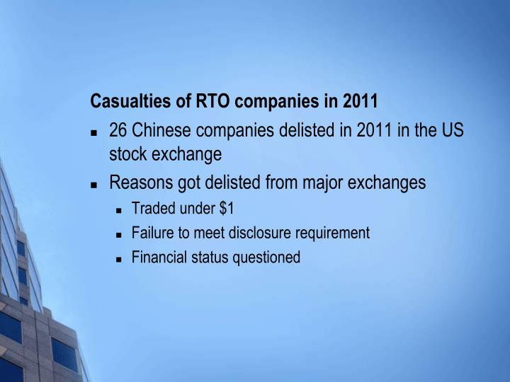 Casualties of RTO companies in 2011