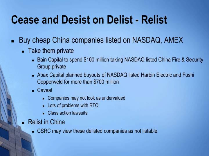 Cease and Desist on Delist - Relist