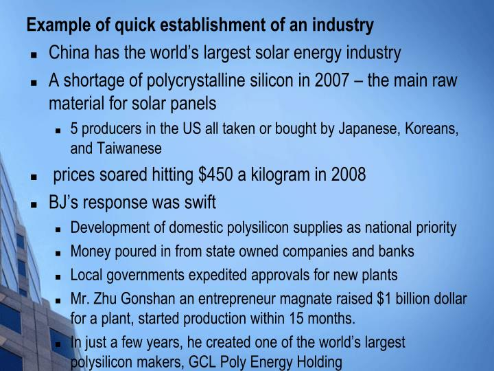Example of quick establishment of an industry