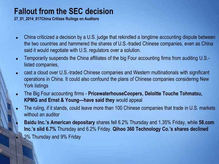 Fallout from the SEC decision