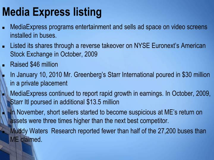 Media Express listing