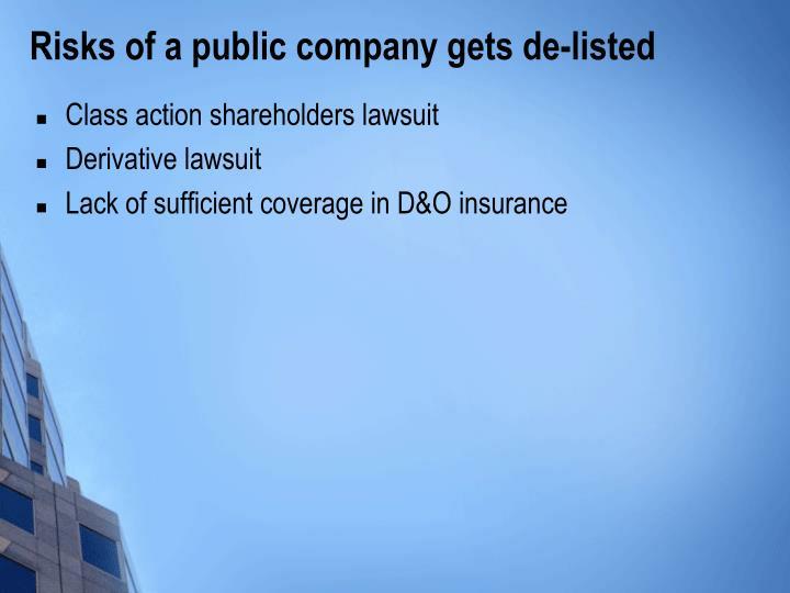 Risks of a public company gets de-listed