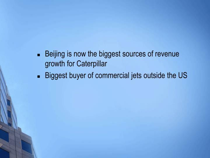 Beijing is now the biggest sources of revenue growth for Caterpillar