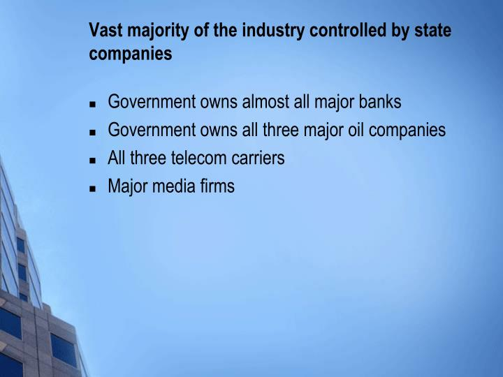 Vast majority of the industry controlled by state companies