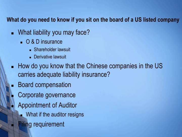 What do you need to know if you sit on the board of a US listed company