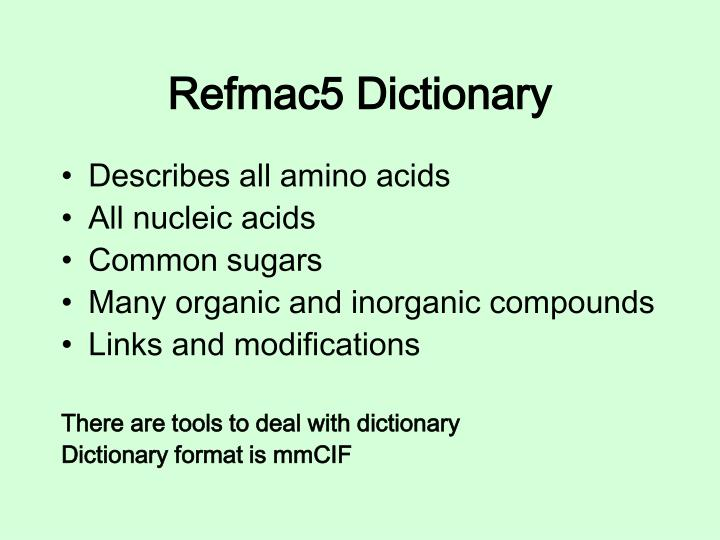 Refmac5 Dictionary
