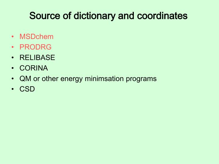 Source of dictionary and coordinates
