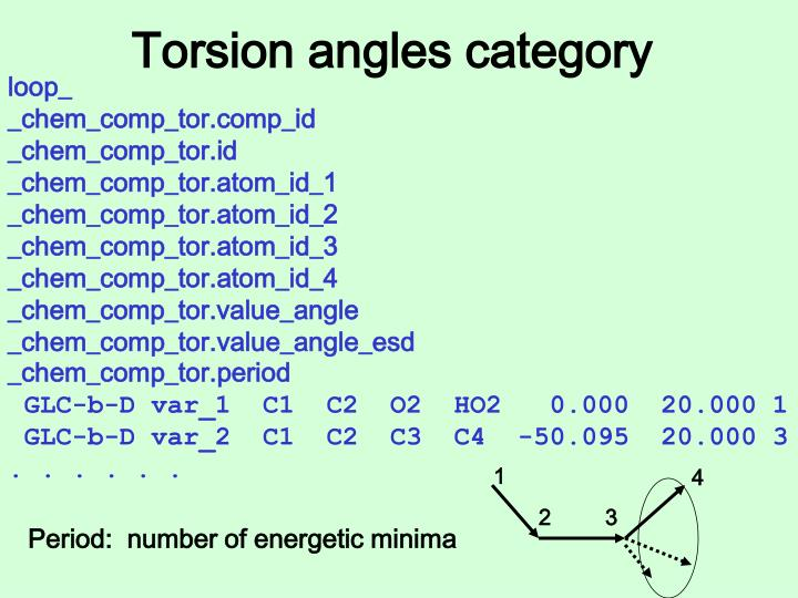 Torsion angles category