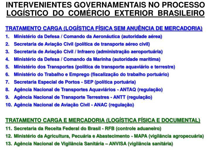 INTERVENIENTES GOVERNAMENTAIS NO PROCESSO