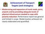 achievement of transport targets and strategies1
