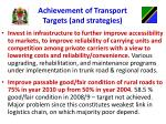 achievement of transport targets and strategies2