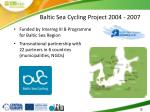 baltic sea cycling project 2004 2007