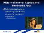 history of internet applications multimedia apps