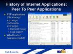 history of internet applications peer to peer applications