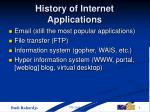 history of internet applications