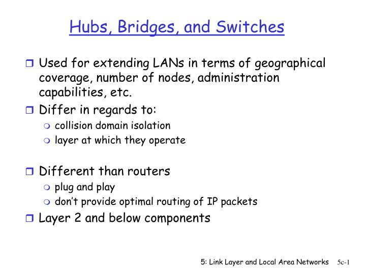 hubs bridges and switches n.
