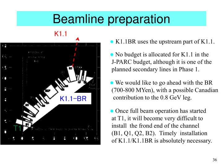 Beamline preparation