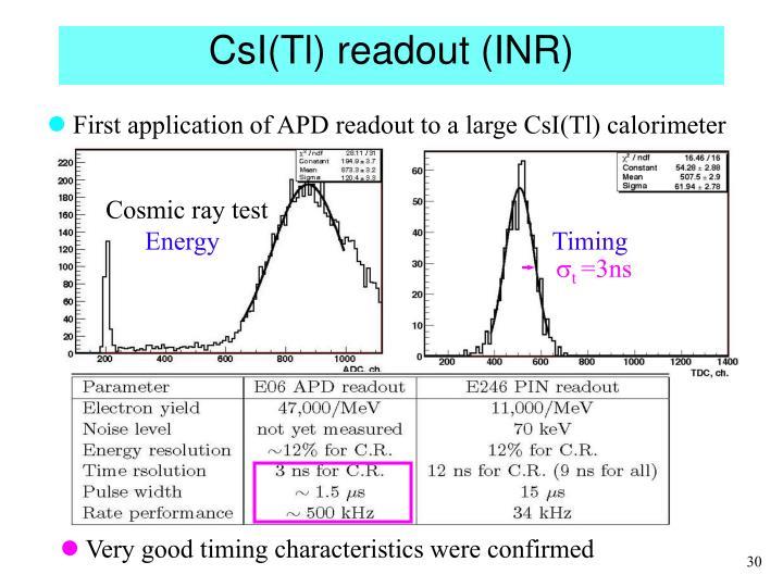 CsI(Tl) readout (INR)