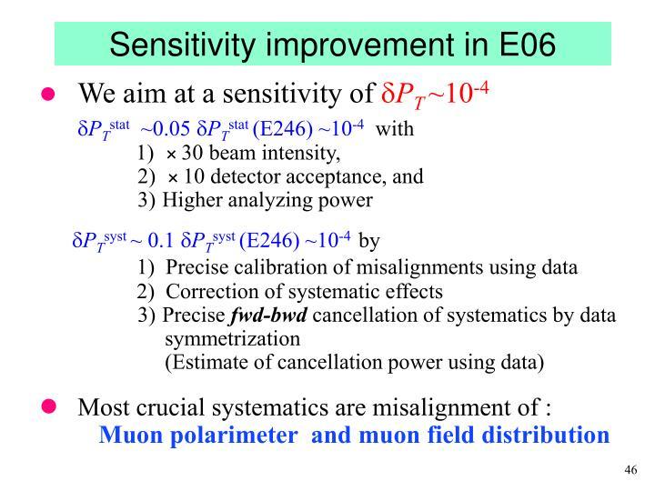 Sensitivity improvement in E06