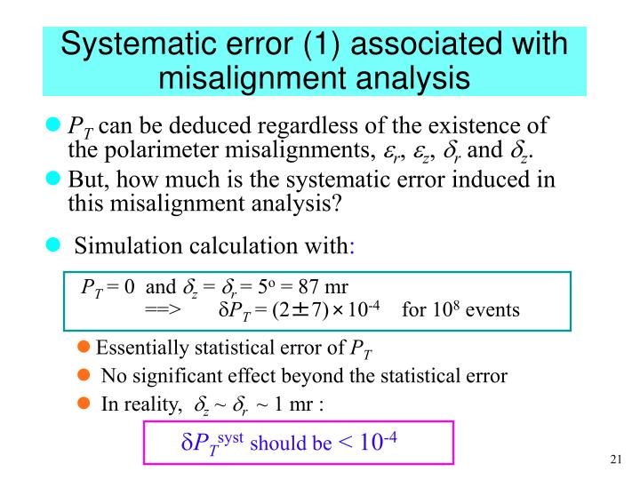 Systematic error (1) associated with