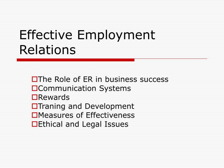Effective employment relations