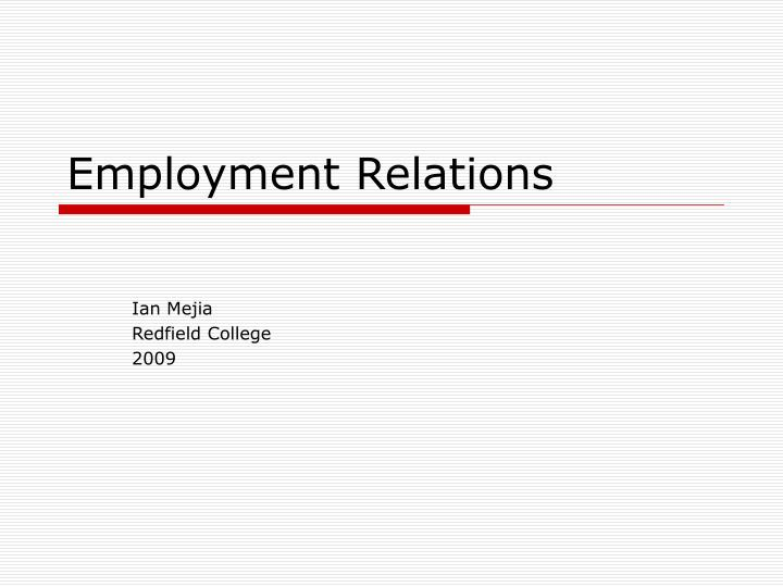 Employment relations