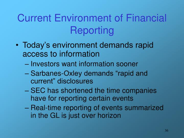 Current Environment of Financial Reporting