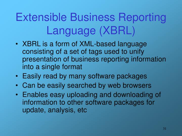 Extensible Business Reporting Language (XBRL)