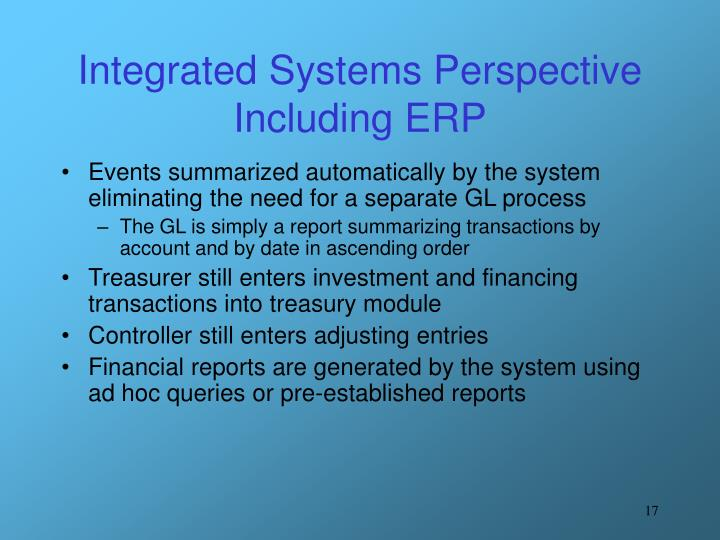Integrated Systems Perspective Including ERP