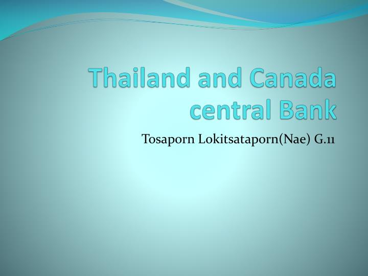 thailand and canada central bank n.